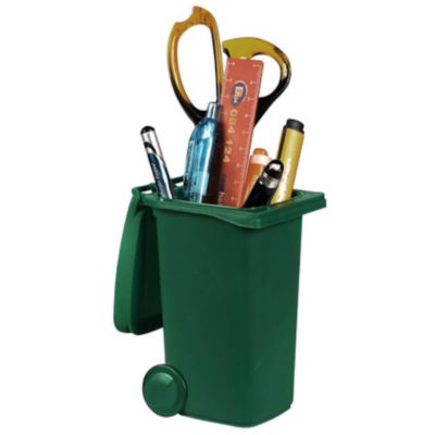 The Dustbin Pen Holder is made from plastic with moveable wheels and a flip lid. Available in a green dustbin shape.
