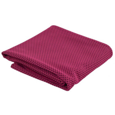 The Ice Cooling Towel is a pink high tech cooling towel designed to turn icy cold after being soaked in water. Packaged in a transparent PVC zip pouch