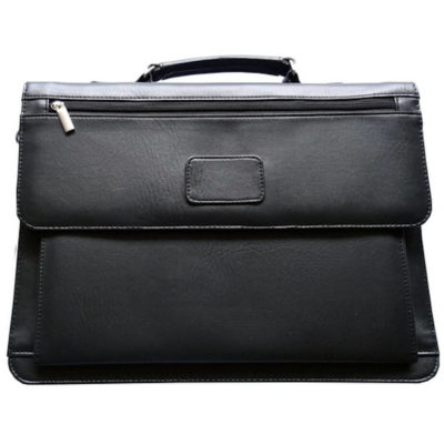 The Exec Briefcase is made from black PVC material with a carry handle.