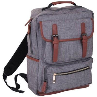 The Estate Laptop Backpack holds most 15.6 inch laptops and other features include 1 clip closed front pouch, 1 zip front pouch and 2 side pockets.