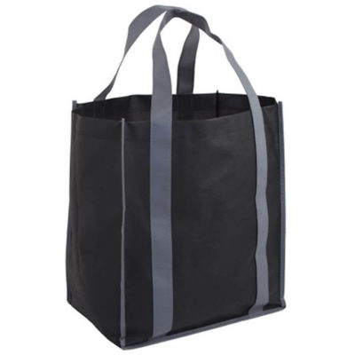The Concord Gusset Shopper Bag is black with grey carry handles and trimmings. Made from reinforced 70g non-woven fabric.