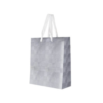 The Gift Bag is a paper gift bag with a shimmery square print on the outside and two white ribbon carry handles