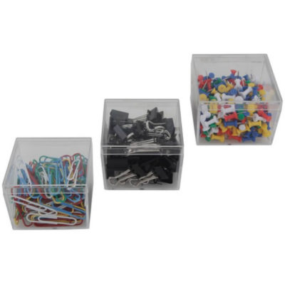 The Combo Stationery Set includes three square transparent plastic cube with removable lids. The set contains 50 x fold back binder clips, vinyl coated paper clips and 250 push pins. Packaged in a black window view gift box