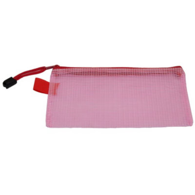 The PVC Mesh Pencil Case is a rectangular shaped pink pencil case made from mesh-like PVC, with a pink zip closure, pink zip puller and pink hanging loop