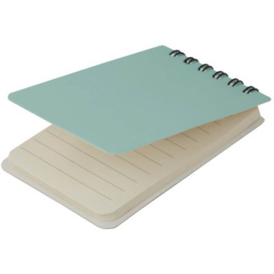 The Pocket Jotter Book is a small renctangular shaped notepad with a turquoise laminted flip cover, wire spine and contains sheets of lined paper