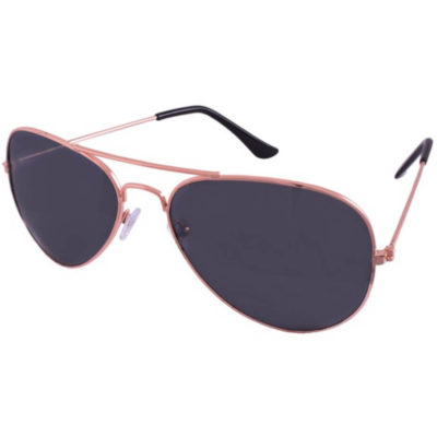 The Pilot UV400 Sunglasses has metal rose gold wire frames with large black tinted lenses to provide UV400 protection