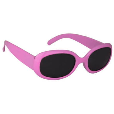 The Kids Sunglasses are pink plastic frame sunglasses with oval shaped black tinted lenses
