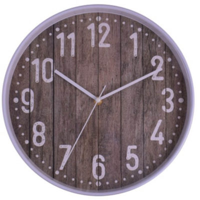 The Picket 30cm Wall is a round plastic wall clock with a rustic looking wooden face, large silver numbering, silver arms and is packaged in a gift box