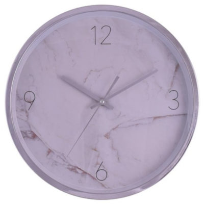 The Tile 35cm Wall Clock is a round plastic wall clock with a marbeled pattern face, quarterly numbering, silver arms and is packaged in a gift box
