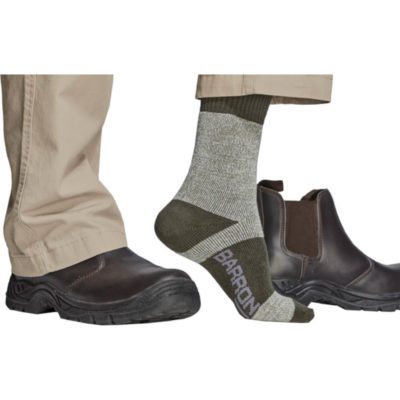 The Barron Anti-Mozzie Sock is a two-tone sock made from 30% Wool 40% Cotton 25% Polyester 5% Elastane and treated with a mosquito repellant that lasts up to 20 washes