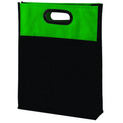 The Durable Gusset Shopper is made from 80g non-woven material with a hard green plastic handle and added side gussets.