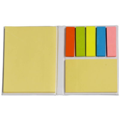 The Sticky-Memo Book is a white hardcover pocket sized mini book that contains one large yellow notepad, 5 brightly coloured pads of sticky flags and one smaller yellow sticky note pad