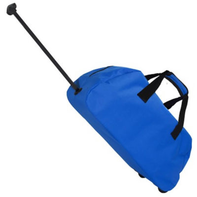 The Elfin Trolley Bag has an extendable handle and two bottom wheels, two zip pullers and a velcro wrap handle.