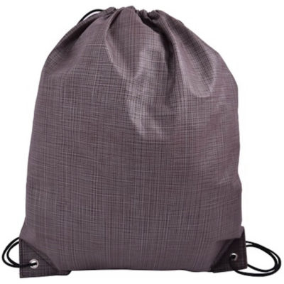 The Fleck Drawstring Bag in the colour brown with silver detailing is made from coated non-woven material with reinforced eyelets.