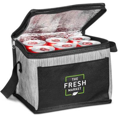 The Fargo Cooler is a grey mélange rectangular shaped 80gsm non-woven PP cooler bag lined with aluminum foil. It has one main zippered compartment, a front pouch, black carry strap and a 6 can capacity