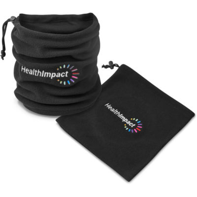 The Snugg Neck Warmer is a black 200gsm polar fleece winter wear item with a draw cord and toggle to adjust the fitting