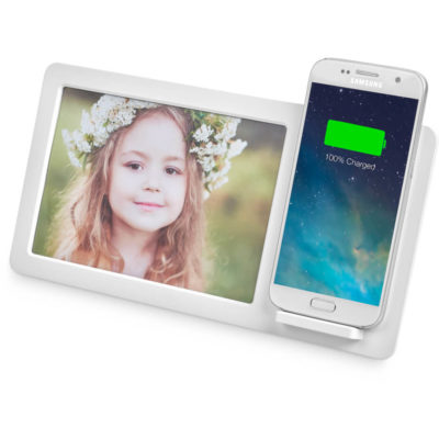The Dynasty Photo Frame & Wireless Charger is a rectanuglar shaped desk item made from ABS with a 16x10cm photo frame, and shelf to rest your phone for hands free video calls and a 5V wireless charging pad to charge your device without cables