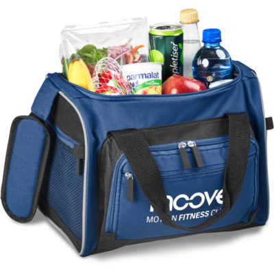 The Championship Cooler is a COLOUR 600D togbag shaped cooler bag with PEVA linig for insulation. Features include a 23litre or 24 can capacity, one large main storage compartment with zip closure, two front and two side pockets with zip closures, a padded shoulder protector, a top carry handle protector, shoulder strap, top carry straps, rubberised zip pullers and reflective piping throughout