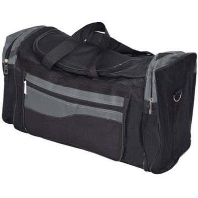 The Apollo Tog Bag in the colour black-grey has 2 side zip pockets, a main zip compartments and a front zip pocket.