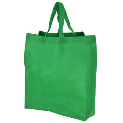 The Bella Gusset Shopper Bag in green is made from 70g non-woven fabric with carry handles.