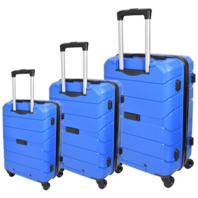 The Marco Quest Luggage Bag in blue has a retractable handle with 4 x rotatable wheels, a main zip compartment and a combination lock