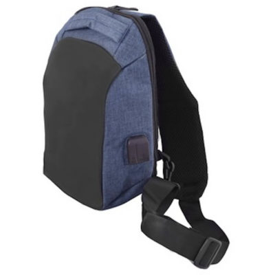 The Anti-Theft Tablet Shoulder Bag in the colour black-navy is made from 600D two-tone polyester fabric.
