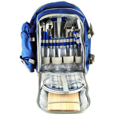 The Picnic Backpack is made from 600D material with a 4 person place setting. The bag has a side bottle pouch, a smaller front pocket and a main zip compartment.