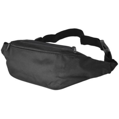 The Moon Bag is a blqack 600D fabric waist bag with two zippered compartments, an adjustable waist strap and a plastic clip closure