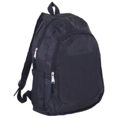 The Nexus Backpack is a black 600D backpack with two zippered comartment, two side net pockets, a top carry handle and adjustable padded shoulder straps. Add colour by choosing a bright zip puller