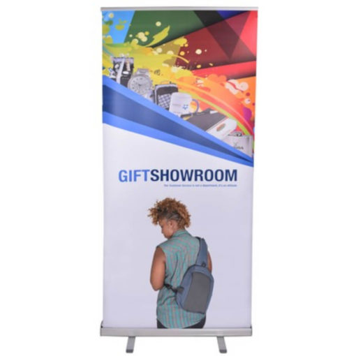 The Pull Up Banner - 850 x 2000 is a 200mic PVC skin that can be fully branded with radiant colour, with a lightweight aluminum frame, base and extendable poles. Includes a black carry case
