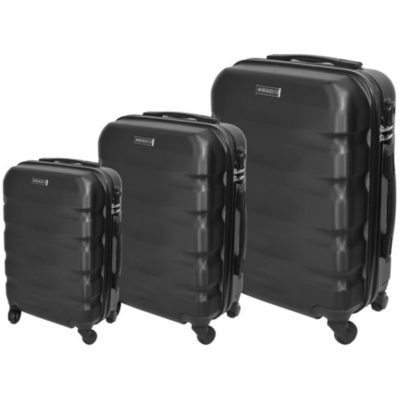 The Black Marco Aviator Luggage Bag 3 Piece is a hard shell travel bag of various sizes with a main zippered compartment, inner zipper pouch, strap to secure your belongings, combination lock to secure your zip, 4 rotating wheels, a side handle and a retractable aluminum handle