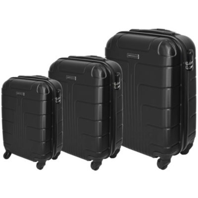 The Black Marco Expedition Luggage Bag 3 Piece is a hard shell travel bag of various sizes with a main zippered compartment, inner zipper pouch, strap to secure your belongings, combination lock to secure your zip, 4 rotating wheels, a side handle and a retractable aluminum handle