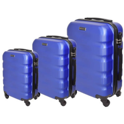 The Blue Marco Aviator Luggage Bag 3 Piece is a hard shell travel bag of various sizes with a main zippered compartment, inner zipper pouch, strap to secure your belongings, combination lock to secure your zip, 4 rotating wheels, a side handle and a retractable aluminum handle