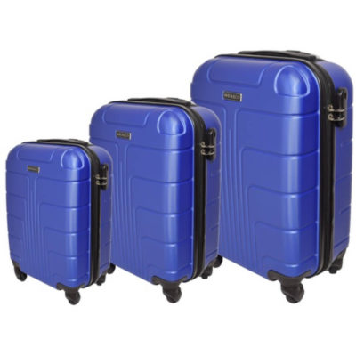 The Blue Marco Expedition Luggage Bag 3 Piece is a hard shell travel bag of various sizes with a main zippered compartment, inner zipper pouch, strap to secure your belongings, combination lock to secure your zip, 4 rotating wheels, a side handle and a retractable aluminum handle
