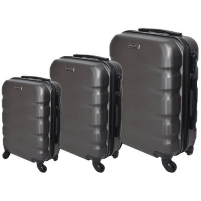 The Grey Marco Aviator Luggage Bag 3 Piece is a hard shell travel bag of various sizes with a main zippered compartment, inner zipper pouch, strap to secure your belongings, combination lock to secure your zip, 4 rotating wheels, a side handle and a retractable aluminum handle