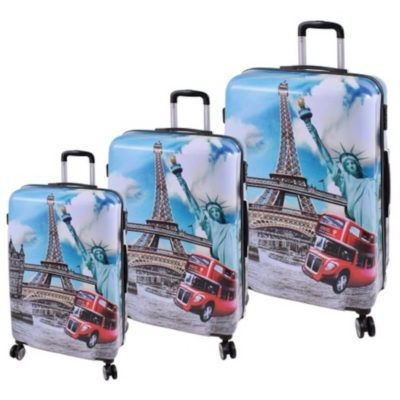 The Landmarks Luggage Bag with a print of the Eifel tower, big red bus and other landmarks on is a hard shell travel bag with a main zippered compartment, inner zipper pouch, strap to secure your belongings, combination lock to secure your zip, 4 rotating wheels, a side handle and a retractable aluminum handle
