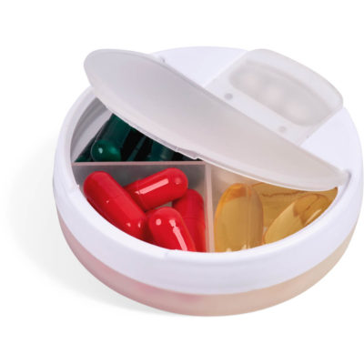 The Collected Pill Box is a white PP four chamber pill compartment with a frosted white rotatable lid and dispenses from one compartment at a time, while the bigger lid opens to all four compartment for easy refilling