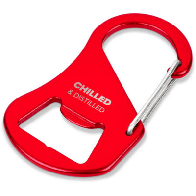 The Barto Bottle Opener is a metallic red aluminium slim bottle opener with a carabiner clip and can be attached to bags, coolers, keys and an apron