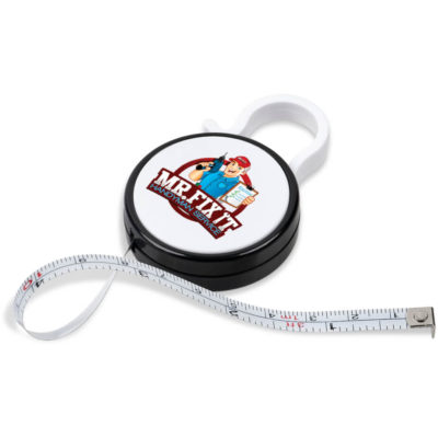 The Alvaro Tape Measure is a solid white round ABS measuring tape with black trim detail. Features a carabiner clip and a retractable 1m long m,easuring tape with mm, cm and inch measurement markings