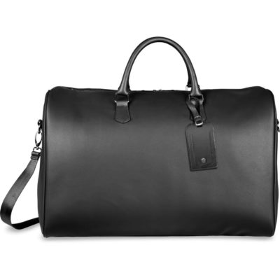 The Alex Varga Lagarde Weekend Bag is a black padded PU travel bag with a luggage tag for branding, padded carry handles, an Alex Varga branded adjustable and removable shoulder strap and one main zippered storage compartment
