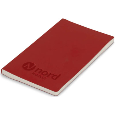 The red Jelly A5 Notebook has +/- 160 lined pages. Made from thermo PU material.