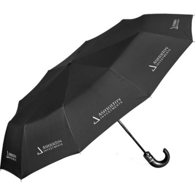 The Alex Varga Zeus Compact Umbrella is a black 8 panel 190T nylon umbrella with a hook handle, easy open close function, electrostatic metal frame, tri-section metal shaft, luxury PU handle and is windproof. Includes textured PU pouch