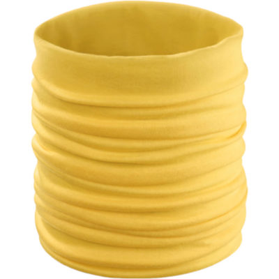 The Cherin Neck Warmer is a yellow soft elastic polyester neck warmer/ buff that can be worn around your neck or pulled up around your nose and mouth for protection against germs, wind, dust, insects