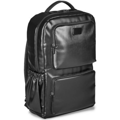 The Alex Varga Romanov Laptop Backpack has two front zipped pockets, elasticated side pockets, adjustable padded shoulder straps and a metal plaque for branding