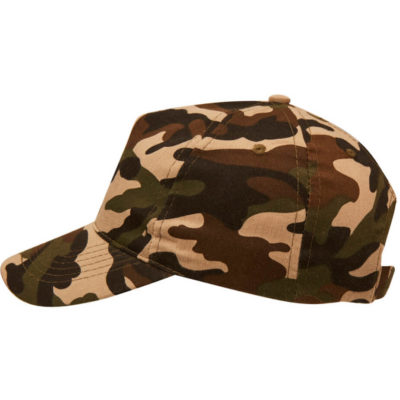 The Superior 5 Panel Camo Cap is made from a polycotton blend with embroidered eyelets