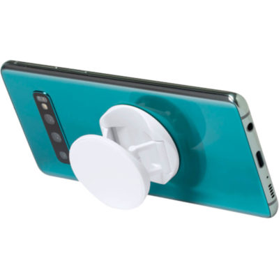 The Kumol Anti-Bacterial Holder is a plain white plastic mobile phone holder with an adhesive backing to attach to your phone. Can be used as a grip or phone stand. Treated with an antibacterial solution to prevent and inhibit the presence and growth of bacteria
