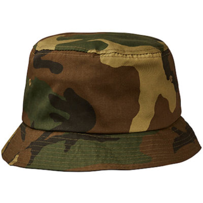 The Phoenix Bucket Hat Camo in the colour camo green is made from cotton twill fabric with Embroidered Eyelets