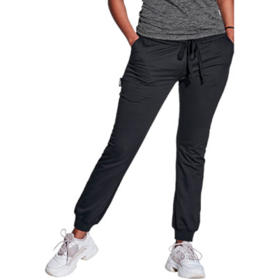 The BRT Ladies Crossover Jogger is a black 240 60% cotton 40% polyester brushed fleece tracksuit pants with an elastic wasitband, drawstring toggles, ribbed cuffs around the ankles, slanted front hip pockets and BRT flag tab label on the side