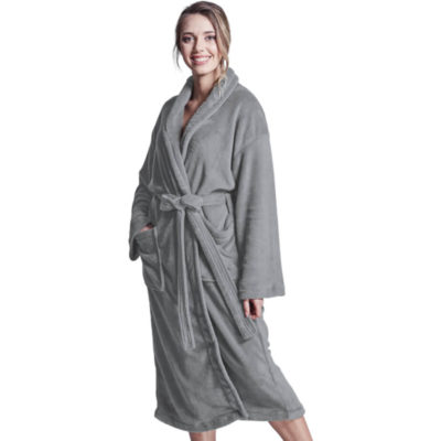 The Emperor Fleece Gown is a grey 260g ultra soft 100% polyester coral fleece longer length gown with two front patch pockets, a self fabric wrap around tie and a soft handfeel for added warmth and comfort