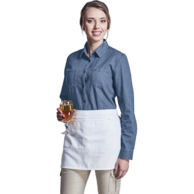 The Cafe Apron is a white 190 poly cotton twill fabric apron with a zippered front pocket for easy access and safekeeping, self fabric straps with an adjustable plastic buckle clip closure and bartacks on all stress points for durability